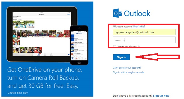cach gui email bang hotmail buoc 1
