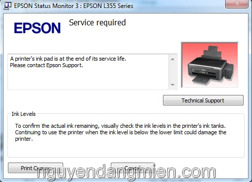 máy in Epson WorkForce 323 lỗi 2 đèn