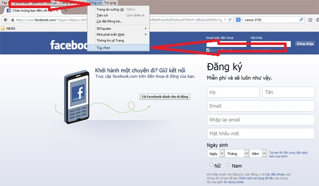 lay trom mat khau outlook tren firefox buoc 1